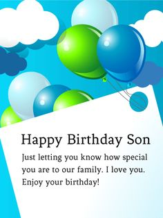 88 best birthday cards for son images on pinterest in 2018 send free to my special son birthday balloon card to loved ones on birthday greeting cards by davia m4hsunfo