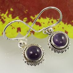 Small Cute Earrings Real AMETHYST Gemstones 925 Sterling Silver Wholesale Offer #Unbranded #DropDangle