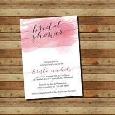 Watercolor Bridal Shower Invitation (digital file) Coral