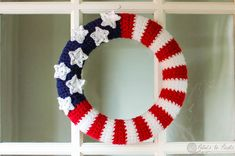 merican Flag Wreath Crochet Pattern  Here's what you need:  12 in. Styrofoam wreath red, white, and blue worsted weight yarn G and H hooks tapestry needle pearl pins (optional)