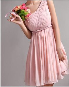 but in blue One shoulder bridesmaid dress. $150.00, via Etsy.