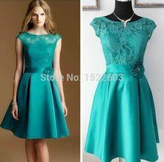 Custom made High lace Appliques A-line Green white purple short evening dress 2015 vestidos dress party evening elegant HC116