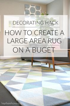 DIY home decor projects : Who knew one thing could instantly change the look of my family room? Check out this decorating hack featuring Rugs USA's Homespun Dimensional Triangles Rug! Big Area Rugs, Big Rugs, Small Rugs, Diy Carpet, Beige Carpet, Rugs On Carpet, Carpet Ideas, Modern Carpet, Drop Cloth Rug