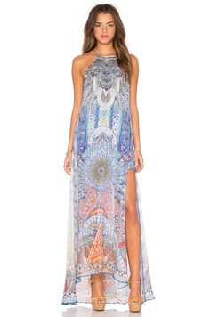 $700 Camilla Sheer Overlay Dress in Concubine Realm