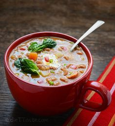 pinto bean soup with spinach
