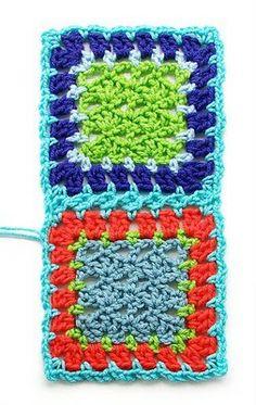 Crochet Granny Squares Design Gourmet Crochet: Flat braid join how-to Joining Crochet Squares, Granny Square Quilt, Crochet Blocks, Granny Square Crochet Pattern, Crochet Borders, Crochet Stitches Patterns, Crochet Granny, Crochet Motif, Crochet Edgings