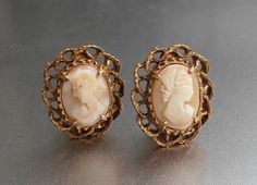 Florenza Cameo Earrings Carved Shell Clip On by LynnHislopJewels