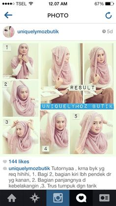 Glam Hijab Tutorial in 5 Steps Cara Hijab, Hijab Chic, Stylish Hijab, Simple Hijab Tutorial, Hijab Style Tutorial, Muslim Women Fashion, Islamic Fashion, How To Wear Hijab, Hijab Wear