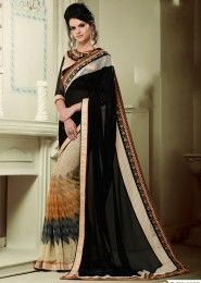 Party Wear Black Georgette Lace Border Work Saree
