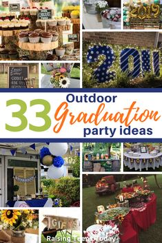For the most festive outdoor grad party ideas, check out our 33 fabulous graduation party ideas! Whether you're having a small family gathering or a big out grad bash, there are plenty of graduation decor ideas to make your party fun and festive! Outdoor Graduation Parties, Graduation Party Foods, Graduation Party Planning, College Graduation Parties, 8th Grade Graduation, Grad Parties, Graduation Ideas, Graduation Cookies, Grad Party Decorations