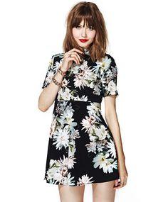 Black Short Sleeve Floral Print Backless Dress 19.99