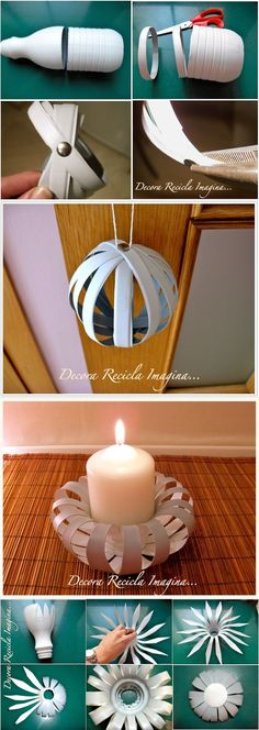 DIY Candle Holder from Old Plastic Bottle....3 Unique Plastic Bottles Recycling Ideas For Home Decor #DIYCrafts Más