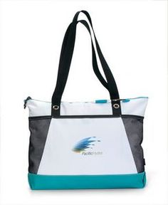 Venture Business Tote Bag W/ Turquoise Blue Accent