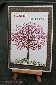 #Auftrags#arbeit. Eine #Einladung zur #Kommunion. Gewünscht war die Farbe und ein #Baum. #Karte entstand mit #Produkten von #Stampin' Up!