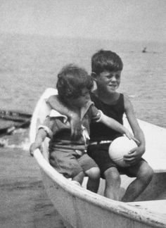 """ Rose Kennedy's Family Album - Eunice and John Kennedy at Sandy Beach, c. 1923. """