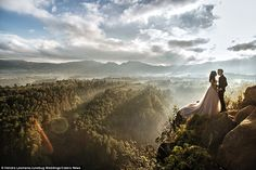 With the sun breaking through clouds, this cliff in Bandung, Indonesia served as a magical...