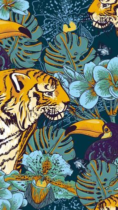 Illustration of Tropical seamless background with exotic flowers and Toucan and Tiger vector art, clipart and stock vectors. Kunst Poster, Jungle Pattern, Art And Illustration, Art Illustrations, High Wallpaper, Tiger Wallpaper Iphone, Gold Poster, Tiger Poster, Poster