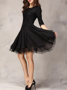 Black Lace Panel Party Dress