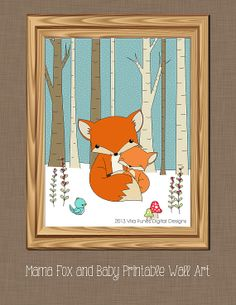 Mama Fox and Baby Printable  Wall art 8x10in by Dragonflytwist