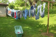 My mom always hung our clothes on a clothesline like this.  I also did for awhile but it got old