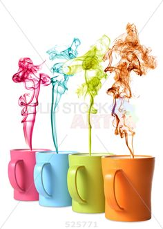 stock photo of coffee or tea mugs with color steam