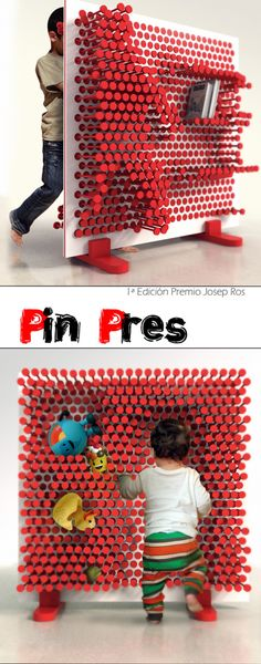 "Pin Pres by OOO MyDesign Large pinhead wall designed for children as a fun storage system: "" Pin Pres is a kid's room shelf that makes the act of sorting up the room a playful experience where the..."