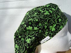 $11.99 This is a beautiful bouffant scrub hat for St. Patrick's day. It is a beautiful filigree of shamrocks done in a striking GREEN on a ...