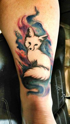 Watercolor fox tattoo. #foxtattoo #watercolortattoo #colortattoo…