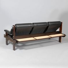 Sergio Rodrigues and Sergio Bernardes; Unique Rosewood, Chrome, Leather and Cane Sofa, 1962.