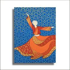 Original Painting Whirling Dervish Sufi Dance Rumi Miniature - AESMPM0045