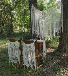 Items similar to Large Macramé Wall Hanging Wedding Backdrop 2 matching chair covers and 1 matching table runner. Boho Gypsy on Etsy Diy Storage Couch, Macrame Chairs, Boho Dekor, Deco Boheme, Macrame Curtain, Wedding Wall, Large Macrame Wall Hanging, Macrame Design, Macrame Projects