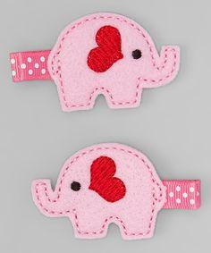 Bubbly Bows Pink Elephants Felt Hair Clips | zulily