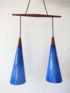 Vintage Danish Modernist Holmegaard Double Blue Glass by uulipolli, £385.00