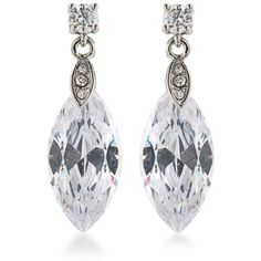 Carolee White Silver-Tone Marquee Stone Drop Earrings ($45) ❤ liked on Polyvore featuring jewelry, earrings, white, silvertone jewelry, earring jewelry, special occasion jewelry, holiday earrings and stone earrings