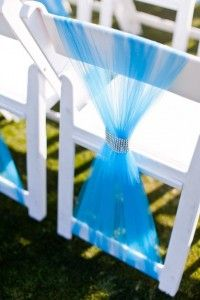 blue tulle wedding chair sash