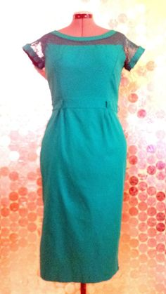Bettie Page Las Vegas Pin-Up Wiggle Dress Turquoise Retro Sz XXL Vintage Inspire #BettiePage #Cocktail