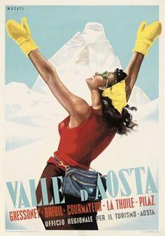 vintage ski poster - MUSATI, ARNALDO (1916-1988) VALLE D'AOSTA offset lithograph in colours, 1950