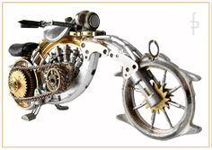 Steampunk miniature motorbike, motocycle made of watch elements. https://www.motorbikes.etsy.com