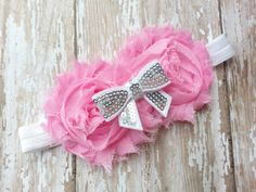 Pink and White Sequin Bow Headband  Rosette by NataleighsBowtique, $5.95