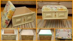 DIY Drawer to Ottoman. Not crazy about the colors or hardware but love the idea!