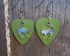Cat Arching Back Charm Guitar Pick Earrings - Pick Your Pattern by ItsYourPick on Etsy