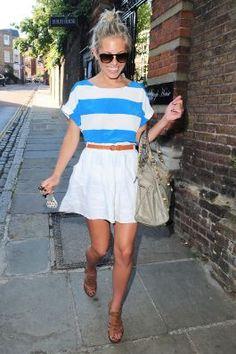 White and Blue Striped Top White Skirt Belt