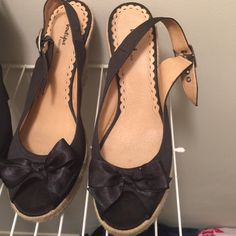 "Women's BOUTIQUE NORDSTROM Satin Wedge Sz 11M Black wedge with rope heel and cute black satin bow. 4"" heel platform. Black material. Very good condition. Worn only once fits too big. Boutique Nordstorm Shoes Wedges"
