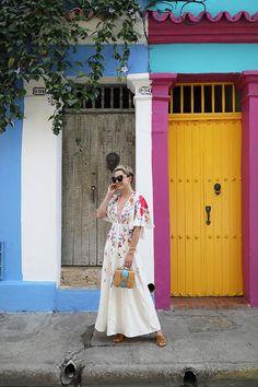 Atlantic-Pacific // Cartagena, Colombia, colorful doors, asos dress, mark cross bag