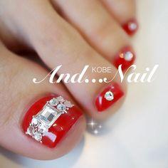 Red-Rhinestones Toe Nail Art