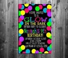 Glow In the Dark Birthday Invitations - Glow Party - Birthday Invite - Neon Birthday Invitations - Glow and Neon Party - Glow Invitations