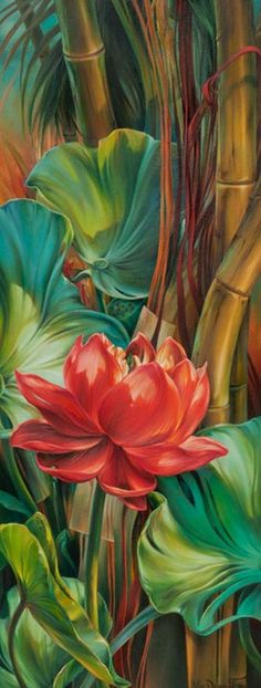 Tropical Awakening by Vie Dunn-Harr, Beautiful painting of tropical plants. Art Floral, Hawaiian Art, Tropical Art, Tropical Plants, Tropical Paintings, Tropical Vibes, Organic Architecture, Beautiful Paintings, Painting Inspiration