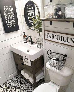 40 beautiful farmhouse bathroom remodel decor ideas