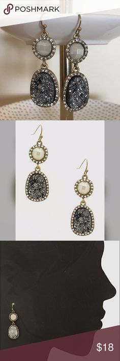 """Crystal Pave Druzy Earrings Brand new Crystal Pave Druzy Earrings. Nickel and lead free. Approx length 2"""". Refer to pic 3 for sizing. Boutique Jewelry Earrings"""