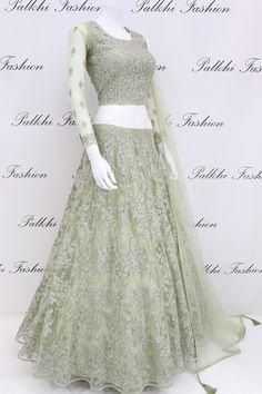 Stylish Pastel Green Stone Worked Lehenga Set From Palkhi Fashion Call/ WhatsApp Indian Bridal Outfits, Indian Designer Outfits, Designer Dresses, Designer Bridal Lehenga, Bridal Lehenga Choli, Net Lehenga, Indian Gowns Dresses, Bridal Dresses, Simple Lehenga